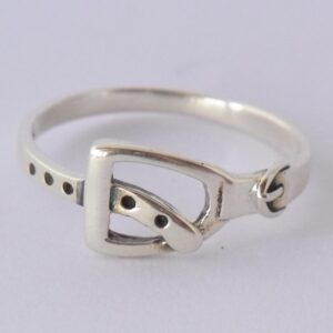 Sterling Silver Stirrup with Leather Ring-0