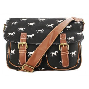 Canvas Horse Print Satchel - Black-488