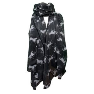 Vintage Horses Scarf-White on Black-0