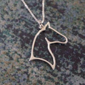 Sterling Silver Elegant Horse Head Pendant w/chain-0