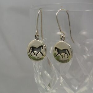 Sterling Silver Trotting Horse Earrings-0