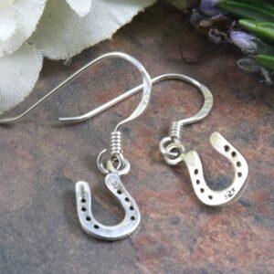 Sterling Silver Horseshoe Drop Earrings-0