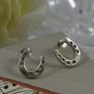 Sterling Silver Classic Horseshoe Stud Earrings-0