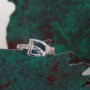 Sterling Silver Stirrup with Leather Ring-851
