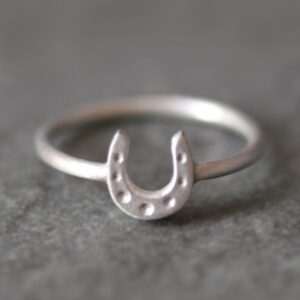 Petite Horseshoe Sterling silver Ring-2658