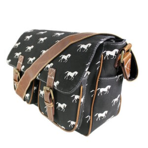 Canvas Horse Print Satchel - Black-0