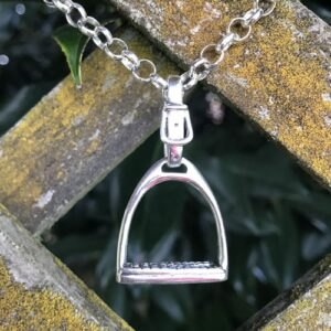 Sterling Silver Large Stirrup Pendant + Belcher Chain-0