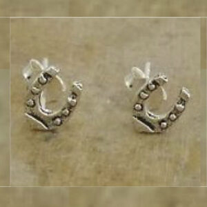 Sterling Silver Mini Horseshoe Stud Earrings-0