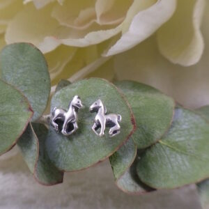 Sterling Silver Prancing Pony Mini Stud Earrings-0