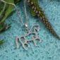Stencil Horse Sterling Silver Pendant w/chain-3699