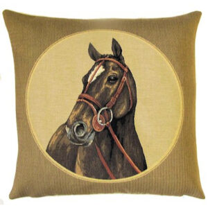 """""""Horse to the Left"""" Tapestry Cushion Cover-0"""