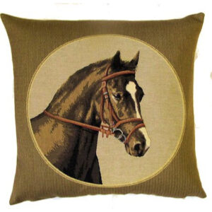 """""""Horse to the Right"""" Tapestry Cushion Cover-0"""