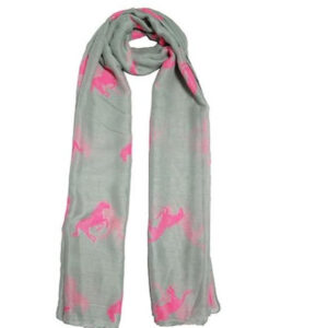 Mulberry Horses Scarf -Pink on Grey-1402