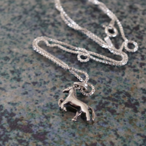 Sterling Silver Prancing Pony Pendant w/chain-0