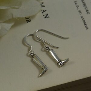 Sterling Silver English Riding Boot Earrings-0