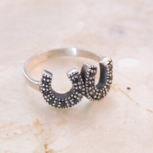 Sterling Silver & Sapphire Twin Horseshoe Ring-0