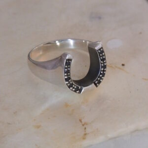 Sterling Silver & Sapphire Ring with Large Horseshoe-0