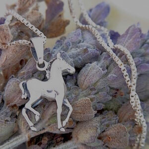 Cute Foal Sterling Silver Pendant w/chain-0