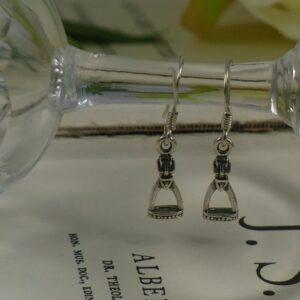 Sterling Silver Stirrup Drop Earrings-0