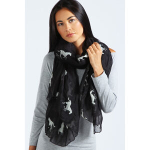 Mulberry Horses Scarves -White on Black-0