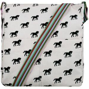 Canvas Horse Print Cross Body Bag - Pink-0