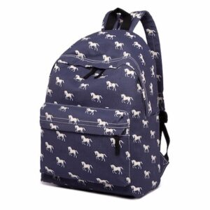 Cantering Horse canvas Backpack - Navy-0
