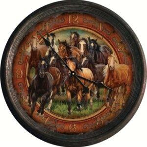 Running Horses Vintage Clock-0