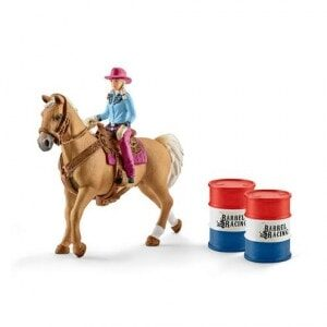 Schleich - Barrel racing with Cowgirl-0