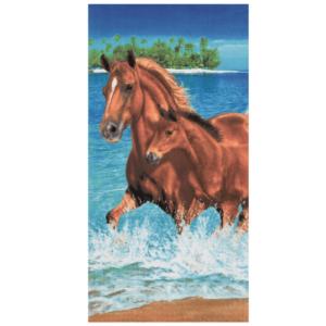 Horses in Water Beach Towel - made in Brazil -0