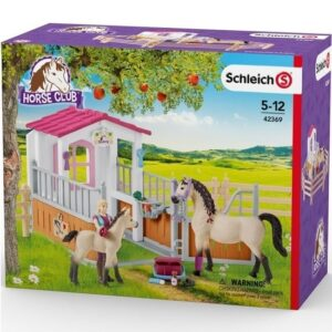 Schleich - Horse Stall with Arab Horses and Groom -4323