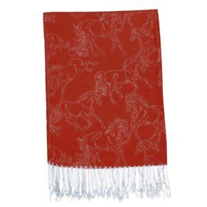 Horse Silk & Cashmere Pashmina - Burnt Red-0