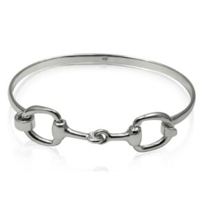 Snaffle Bit Bangle 14mm - Solid Sterling Silver -0