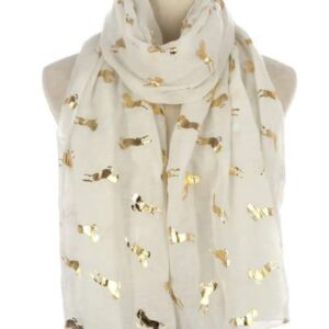 Metallic Horse Print Scarf - White and Gold Foil-0