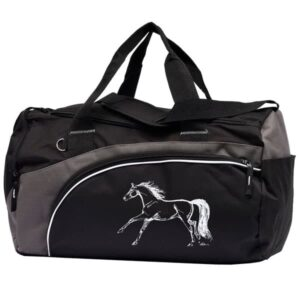 Black & Grey Duffle with White Horse-0