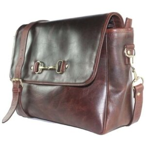 Snaffle Bit Leather Satchel - Natural Brown-0
