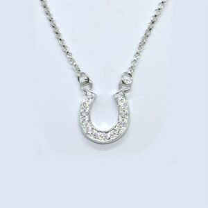 Crystal Horseshoe Sterling Silver Necklace-0