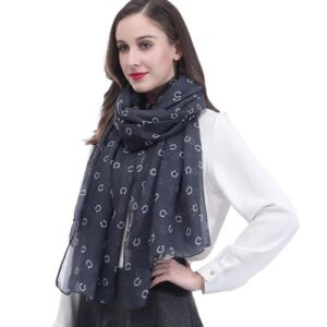 Horse Shoe Scarf - Grey / White-0