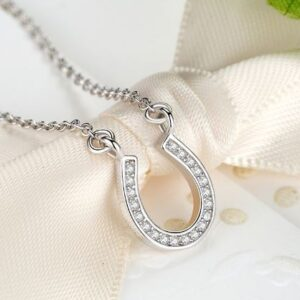 Crystal Horseshoe Sterling Silver Necklace-5477