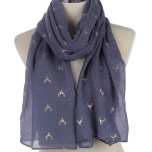 Stag Scarf - Navy / Rose Gold-0