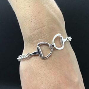 Sterling Silver Reverse Snaffle Bracelet-5773