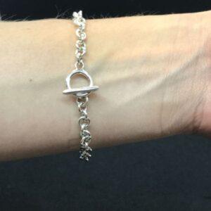 Sterling Silver Reverse Snaffle Bracelet-5772