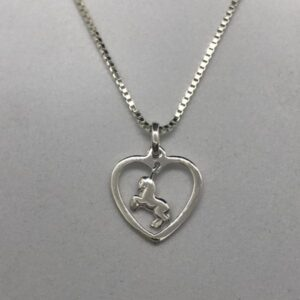 Rearing Horse in Heart Pendant w/chain-0